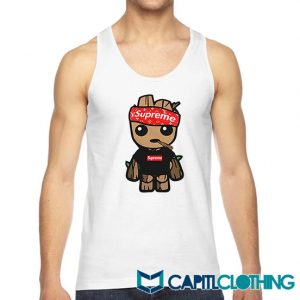 Supreme Hat Parody X Baby Groot Tank Top