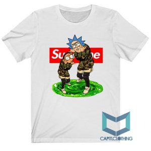 Rick Morty X Bape X Supreme Tee For Men or Women