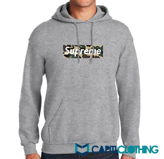 Bape Camo X Supreme Logo Parody Hoodie