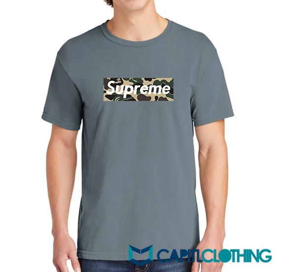 Bape Camo X Supreme Logo Parody Tee