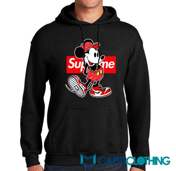 Disney Mickey Mouse X Supreme Parody Hoodie
