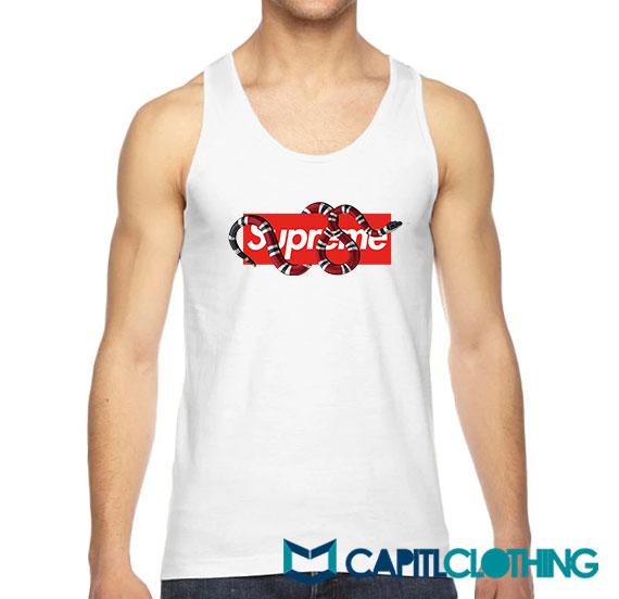 Red Snake X Supreme Logo Parody Tank Top