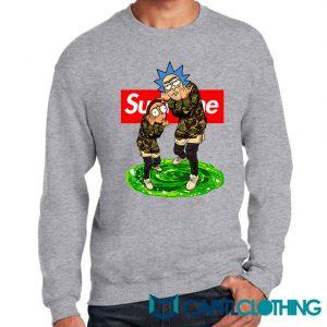 Rick And Morty Camo X Supreme Parody Sweatshirt