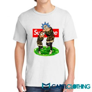 Rick And Morty Camo X Supreme Parody Tee