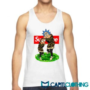 Rick And Morty Camo X Supreme Parody Tank Top